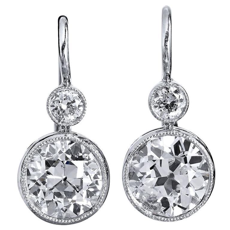 H & H 2.90 Carat Old European Cut Diamond white gold platinum Earrings