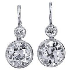 H&H 2.90 Carat Old European Cut Diamond White Gold Platinum Lever Back Earrings