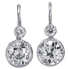 H & H 2.90 Carat Old European Cut Diamond white gold platinum Earrings