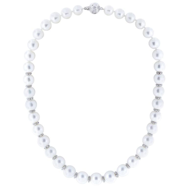 South Sea Pearl Diamond Rondelle Necklace