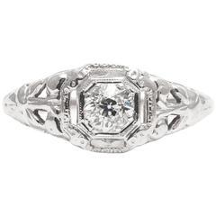 Art Deco 0.35 Carat Diamond White Gold Filigree Solitaire Ring