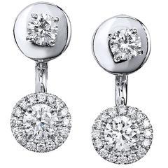 Round 1.14 Carat Diamond Double-Sided Stud Earrings