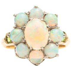 Edwardian Opal Demantoid Garnet Gold Platinum Ring