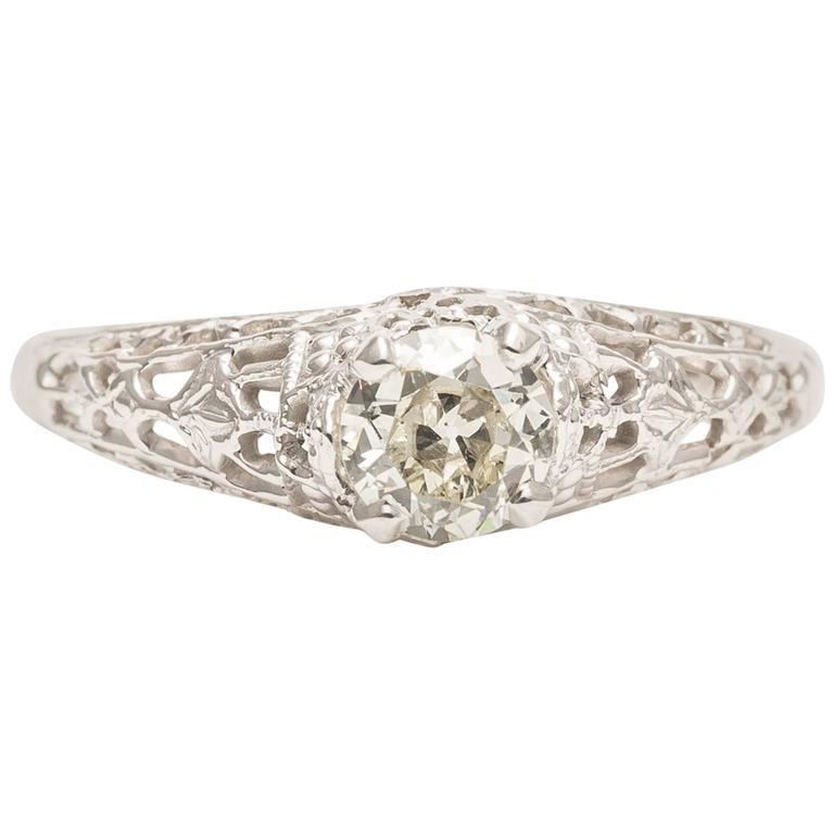 deco 0 45 carat white gold filigree engagement