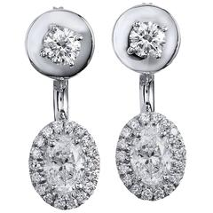 Oval 1.39 Carat Diamond Double-Sided Stud Earrings