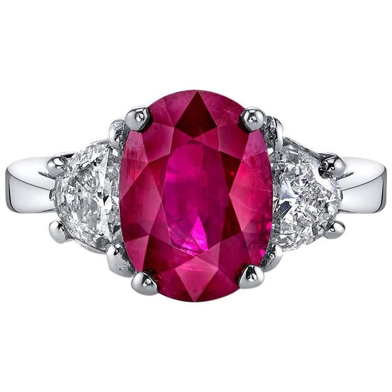 e0ead63705e55 4.64 Carat Pigeon Blood Burmese Ruby Diamond Gold Ring