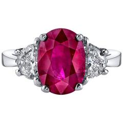 Pigeon Blood Burmese Ruby Diamond Gold Ring