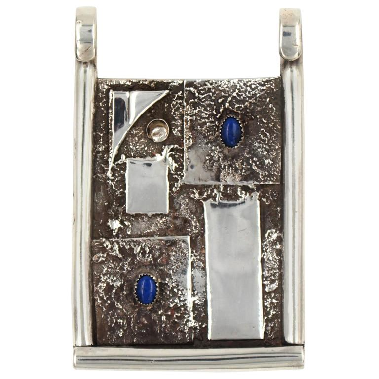 Lapis Lazuli Sterling Silver Modernist Pendant   For Sale