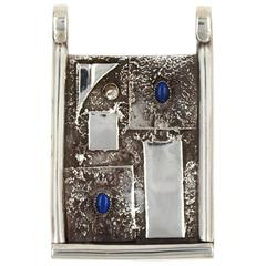 Lapis Lazuli Sterling Silver Modernist Pendant