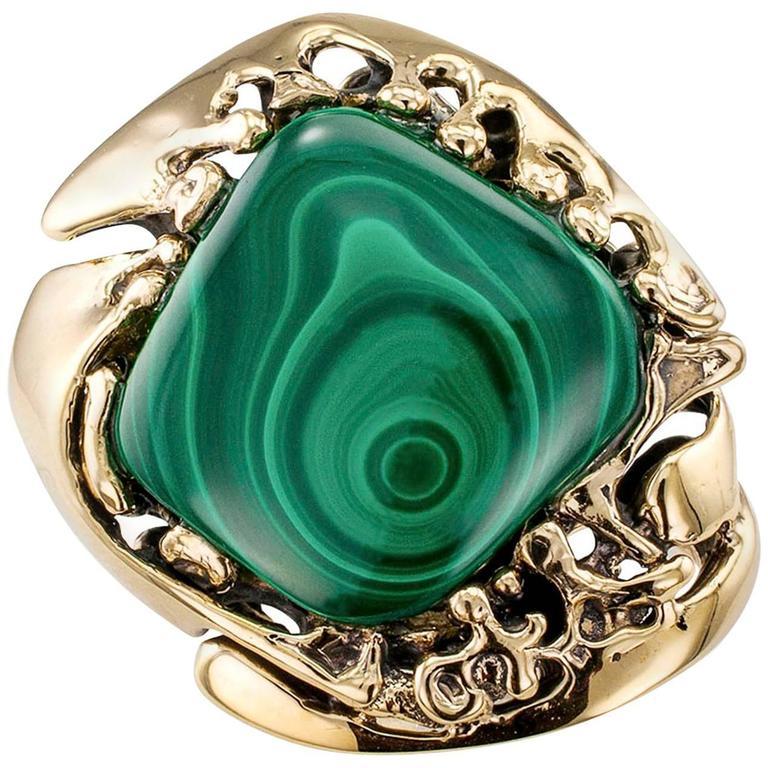 1960s Modernist Abstract Malachite Bullseye Gold Ring