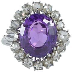11.45 Carat Natural No Heat Purple Sapphire 2.60 Carat Diamond Rare Antique Ring