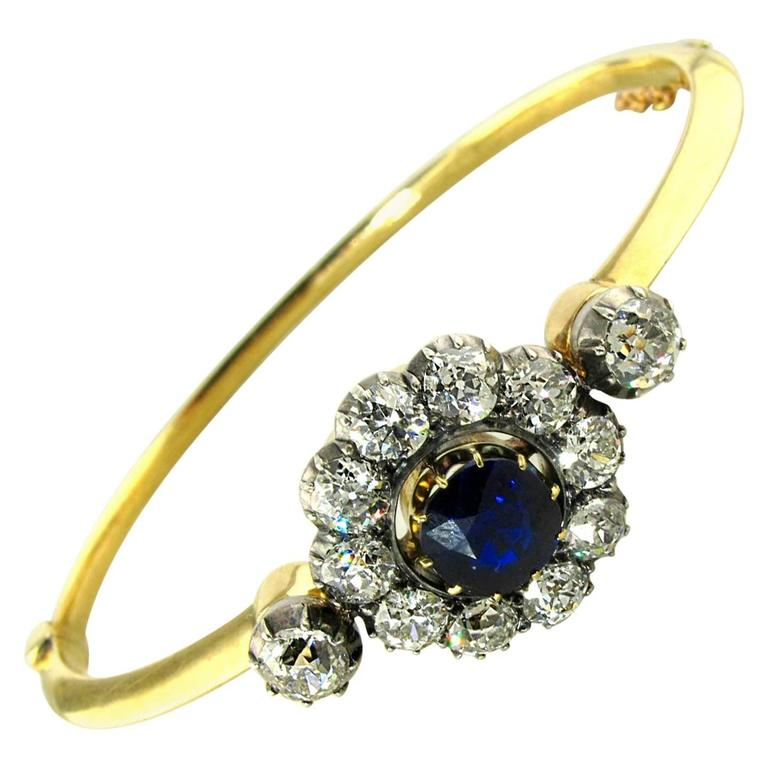 Antique Sapphire Diamond Silver Yellow Gold Bracelet For Sale