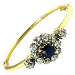 Antique Sapphire Diamond Silver Yellow Gold Bracelet