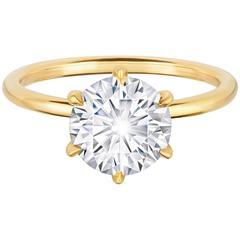 2.08 Carat Diamond Six Prong Diamond Yellow Gold Engagement Ring