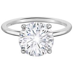 GIA Certified 3.06 Carat Round Brilliant Diamond Solitaire Engagement Ring