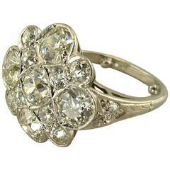 Old Mine Cut Diamond Platinum Cocktail Ring