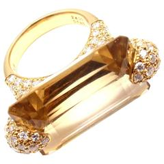 1.85 Carat Diamond Large 24 Carat Citrine Yellow Gold Ring