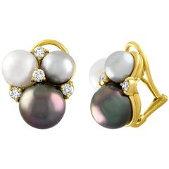 Seaman Schepps Three-Cluster Pearl Diamond Yellow Gold Earrings