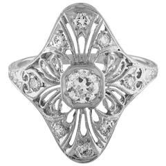 Milgrain Filigree Platinum and Diamond 0.38 Carat Ring