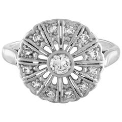 Milgrain Platinum and Diamond 0.40 Carat Ring