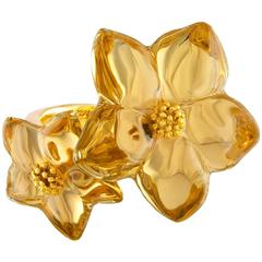 Baccarat Double Blossom Star Crystal Yellow Gold Ring