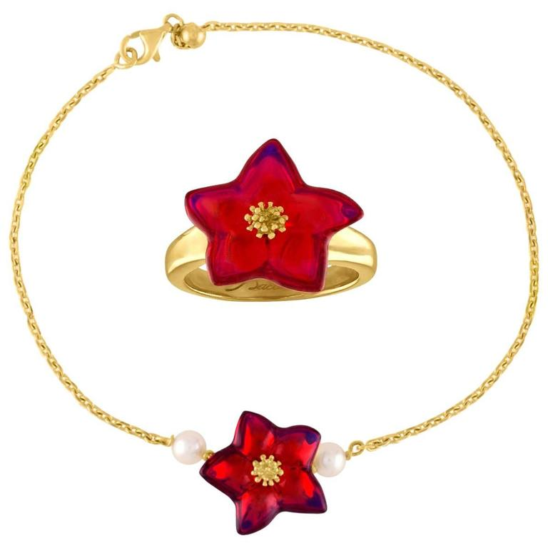 Baccarat Blossom Star Ruby Crystal Yellow Gold Bracelet and Ring Set