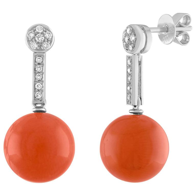 Sphere Coral and 0.36 Carats Diamond Gold Drop Earrings