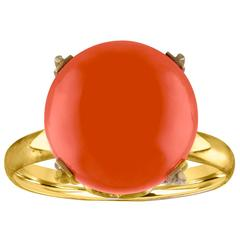 Coral Sphere 14K Rose Gold Ring