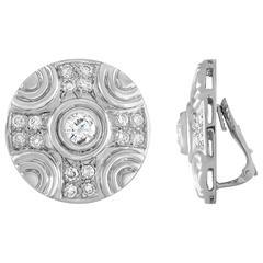 Diamond 4.63 Carat Large 18K Gold Disc Clip-On Earrings