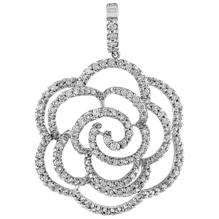 Diamond 3.50 Carat Camellia Flower Gold Pendant