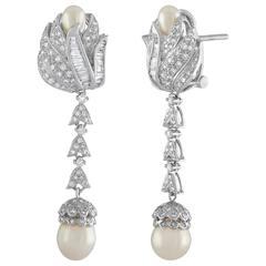 2.00 Carat Diamond and Pearl Gold Drop Earrings