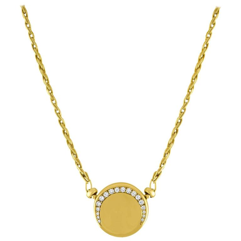 Movado 0.75 Carat Diamonds Yellow Gold Disc Pendant Necklace