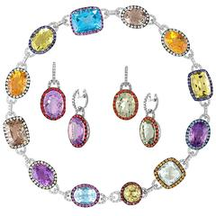 Multi-Gem and Diamond Gold Necklace and Earrings Three-Piece Set