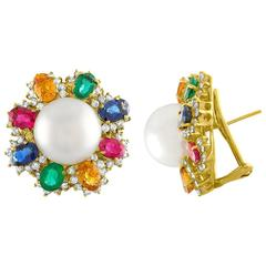 Multi-Gem Pearl and Diamond Gold Earrings