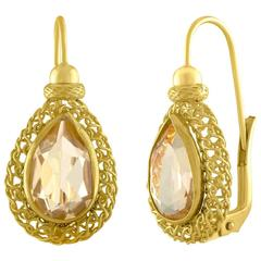 Tear Drop 4.00 Carat Citrine Yellow Gold Earrings