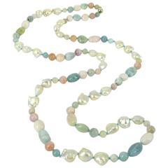Beryl Aquamarine Morganite Pearl Silver Long Necklace