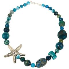 Star Fish Teal Agate Coral Jasper Silver Bead Necklace