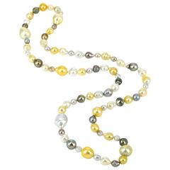 Baroque South Sea and Tahitian Pearl Long Necklace