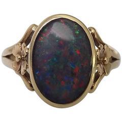 Black Opal Triplet Gold Floral Ring