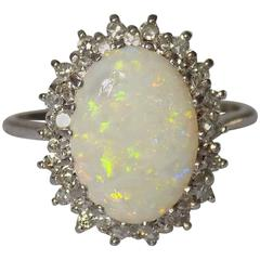 Opal Diamond White Gold Cocktail Cluster Ring