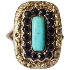 Georgian Turquoise Jet Gold Mourning Ring