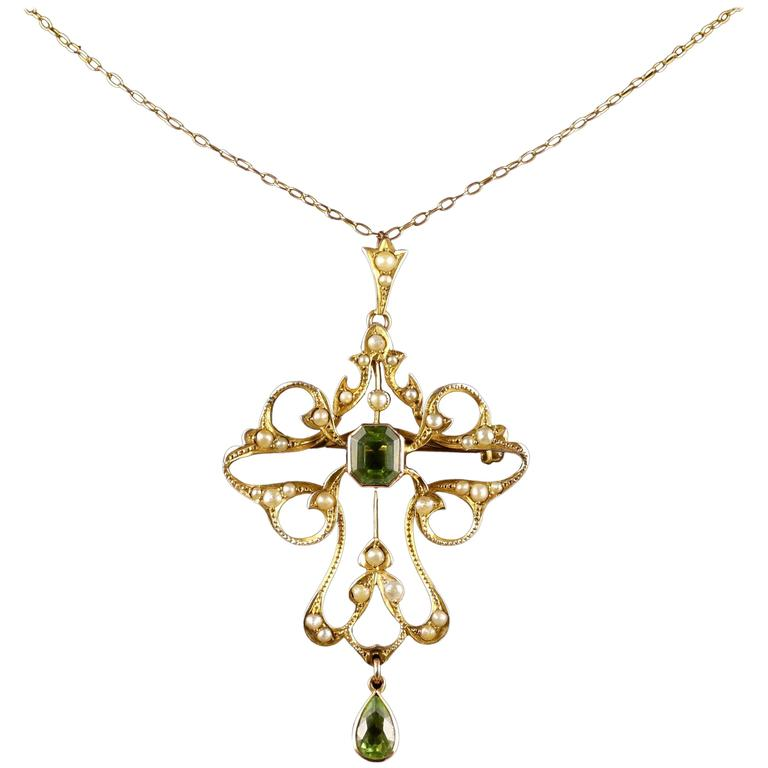 Antique Victorian Peridot 9 Carat Gold Pearl Pendant Brooch Necklace, circa 1900