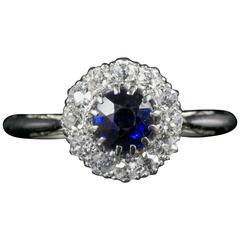 Antique Edwardian Sapphire Diamond Cluster Ring Platinum