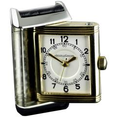 Jaeger Le Coultre Yellow Gold Stainless Steel Reverso Original Wristwatch
