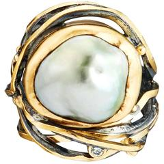 Bergsoe Pearl Diamond Silver Gold Twisted Ring