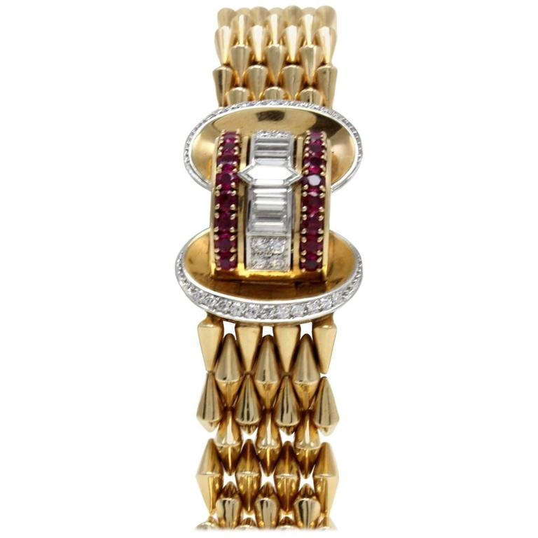 Luise Gold Diamond Ruby Bracelet/Watch