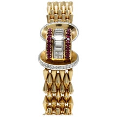 Luise Gold Diamond Ruby Bracelet/Watch