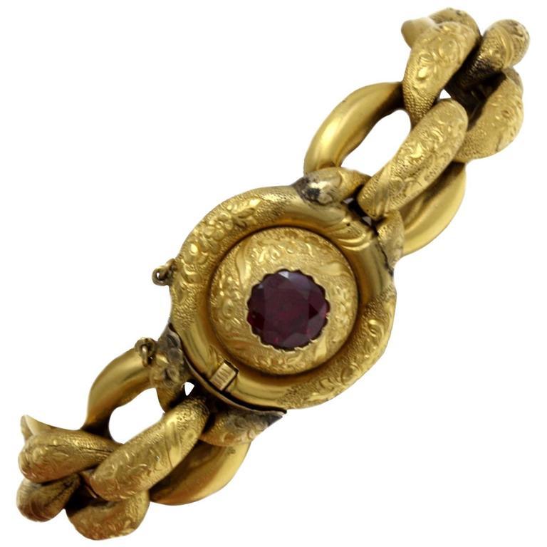Luise Gold Garnet Chain Bracelet