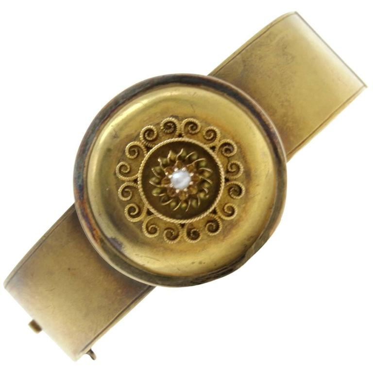 Luise Gold Pearl Cuff Bracelet