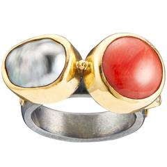 Bergsoe Coral Tahiti Pearl Diamond Silver Gold Cocktail Ring